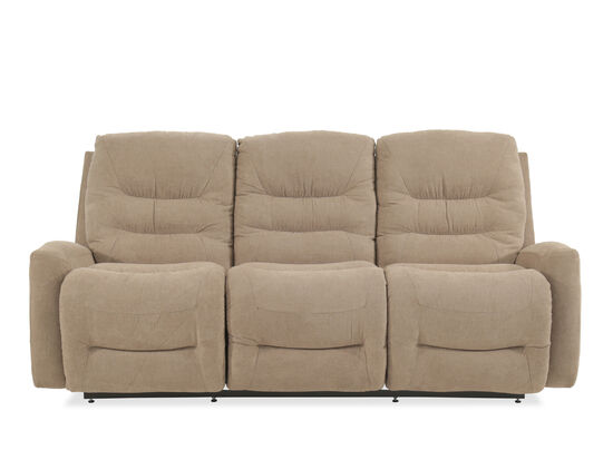 "Traditional 86"" Reclining Sofa in Beige"