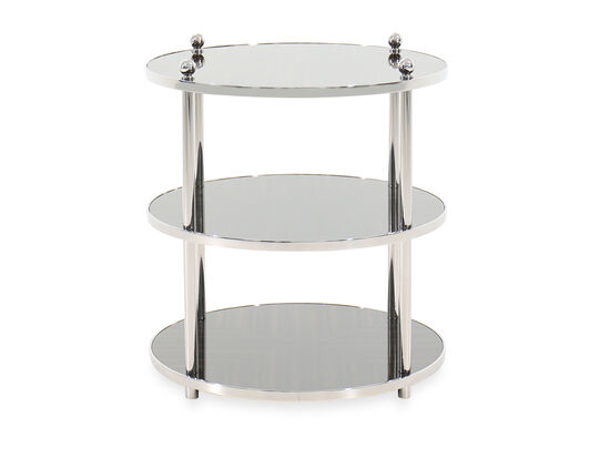 Round Transitional End Table in Silver