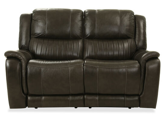 Contemporary Leather Power Reclining Loveseat in Gray
