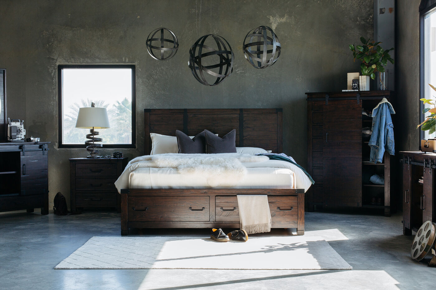 Four Piece Solid Wood Bedroom Set In Rustic Pine Mathis Brothers Furniture