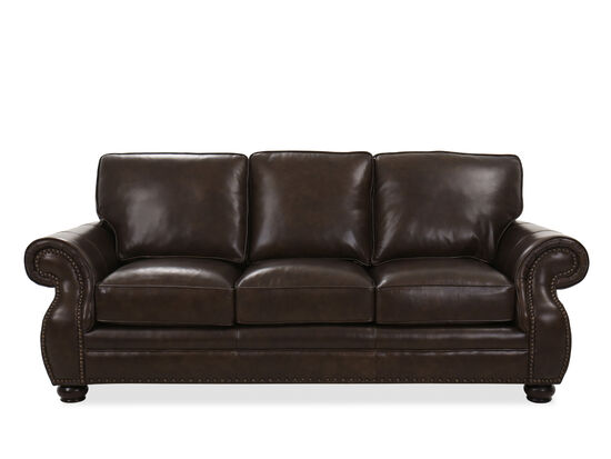 Nailhead-Accented Contemporary Leather Sofa in Walnut