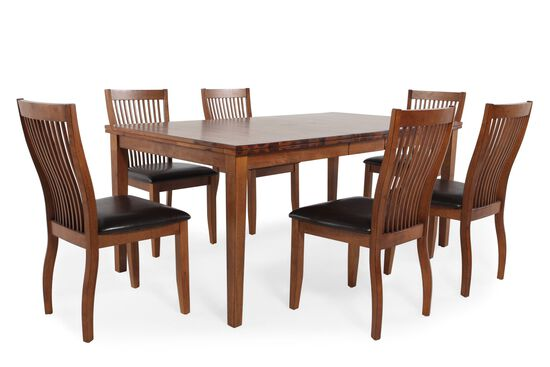Seven-Piece Traditional Dining Set in Brown