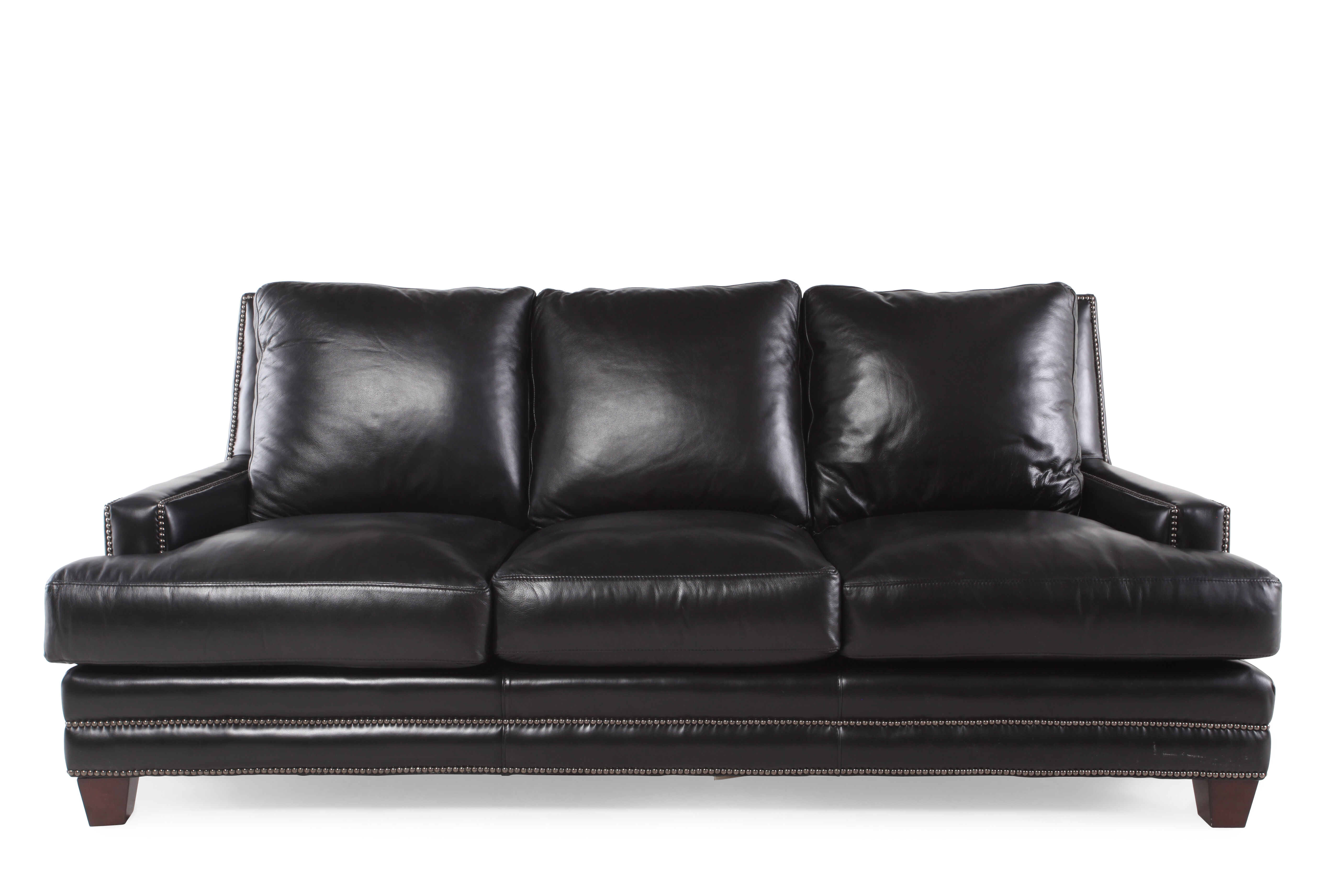 Nailhead Accented Leather 86u0026quot; Sofa In Black
