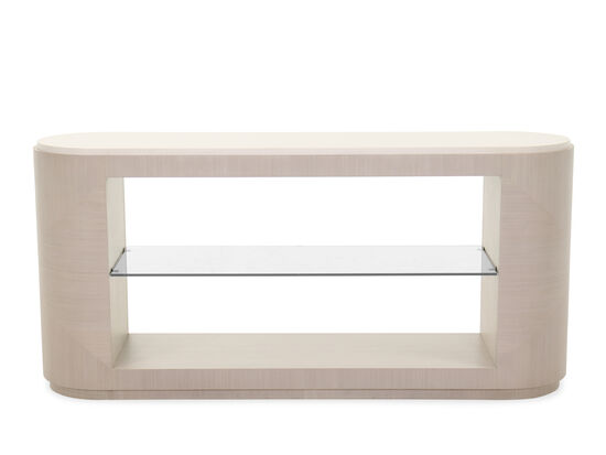 Two-Shelf Transitional Console Table in Linear Gray