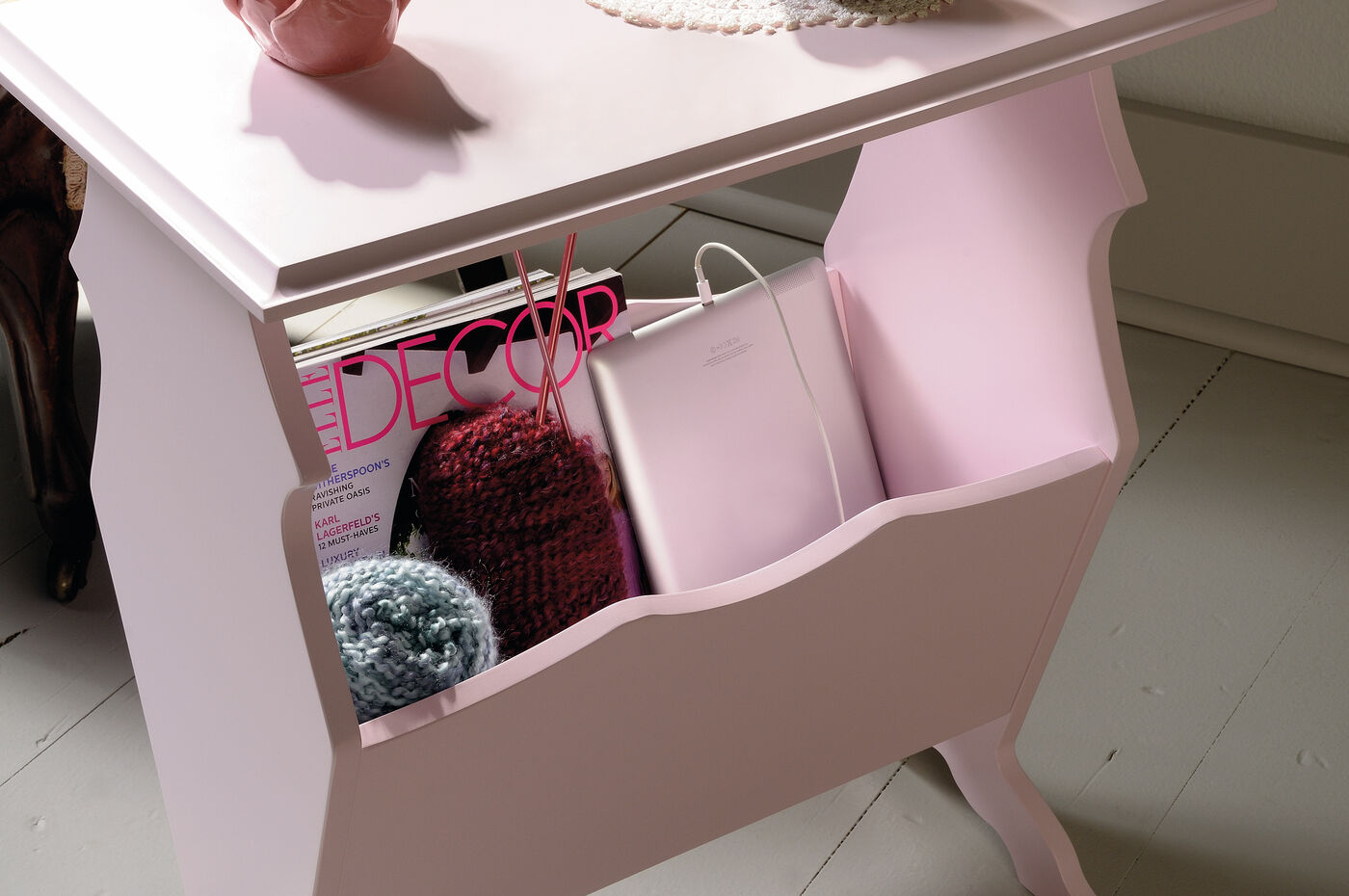 Contemporary storage side table in pink mathis brothers furniture - Contemporary side tables with storage ...