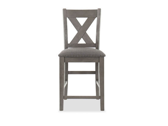 "Casual 40"" Nailhead-Accented Bar Stool in Dark Gray"