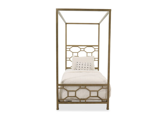 Contemporary Youth Twin Canopy Bed in Gold