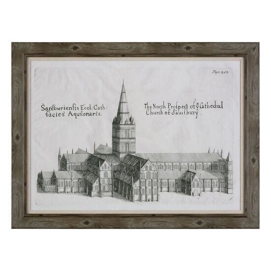 Framed Salisbury Cathedral Architectural Printed Wall Art