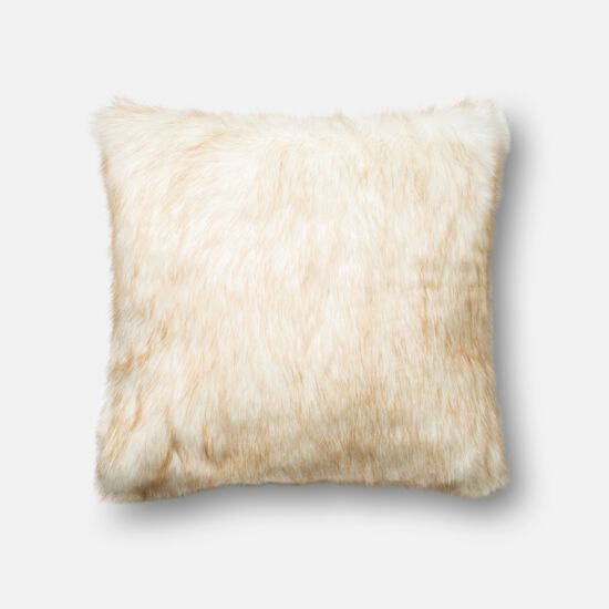 """Contemporary 22""""x22"""" Cover w/poly pillow in Ivory/Camel"""