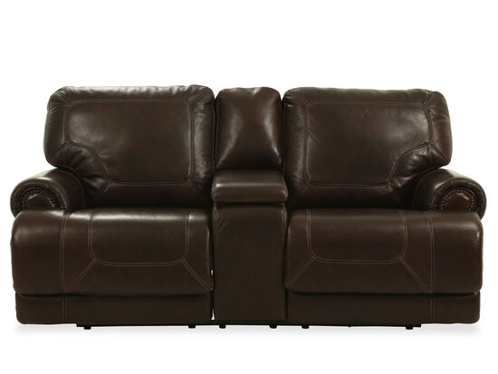 "Power Reclining Traditional Leather 79"" Loveseat in Coffee"