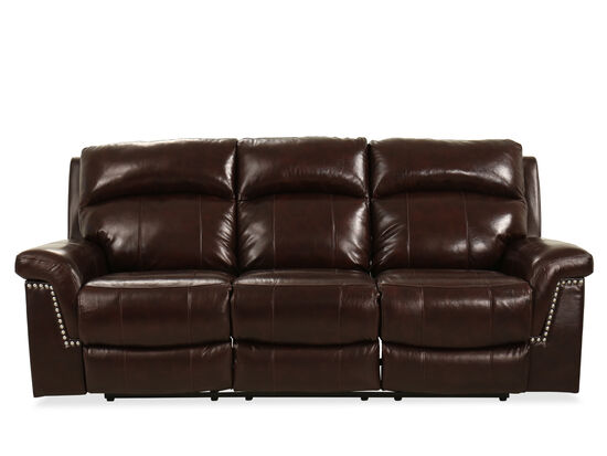 """Leather 91.5"""" Power Reclining Sofa in Brown"""
