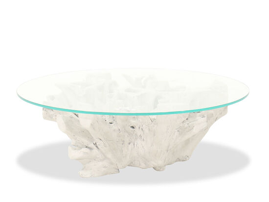 Modern Round Cocktail Table in White