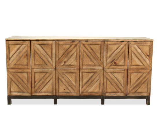 Distressed Casual Entertainment Console in Medium Pecan