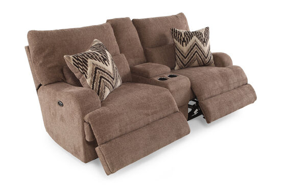 """Reclining Traditional 83"""" Console Loveseat in Medium Brown"""