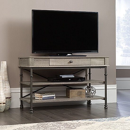Extension Slide Drawer Contemporary TV Stand in Northern Oak
