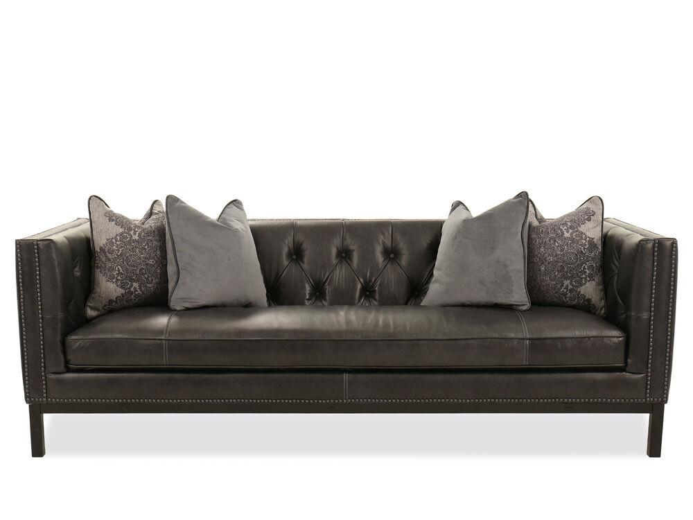 Nailhead Accented Leather Sofa In Slate