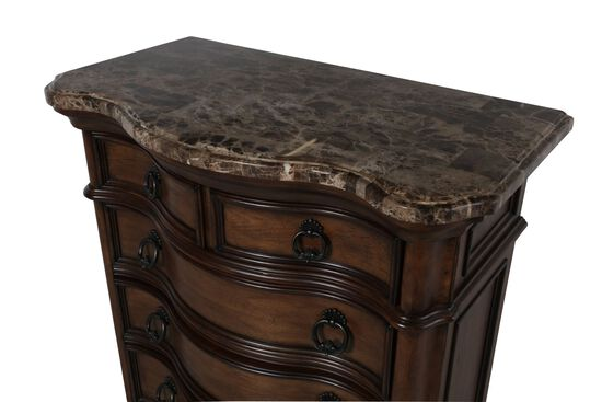 "56"" Traditional Marble-Top Drawer Chest in Brown"