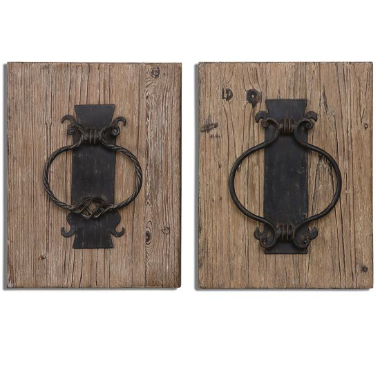 Two-Piece Door Knockers Wall Art in Stained Wood