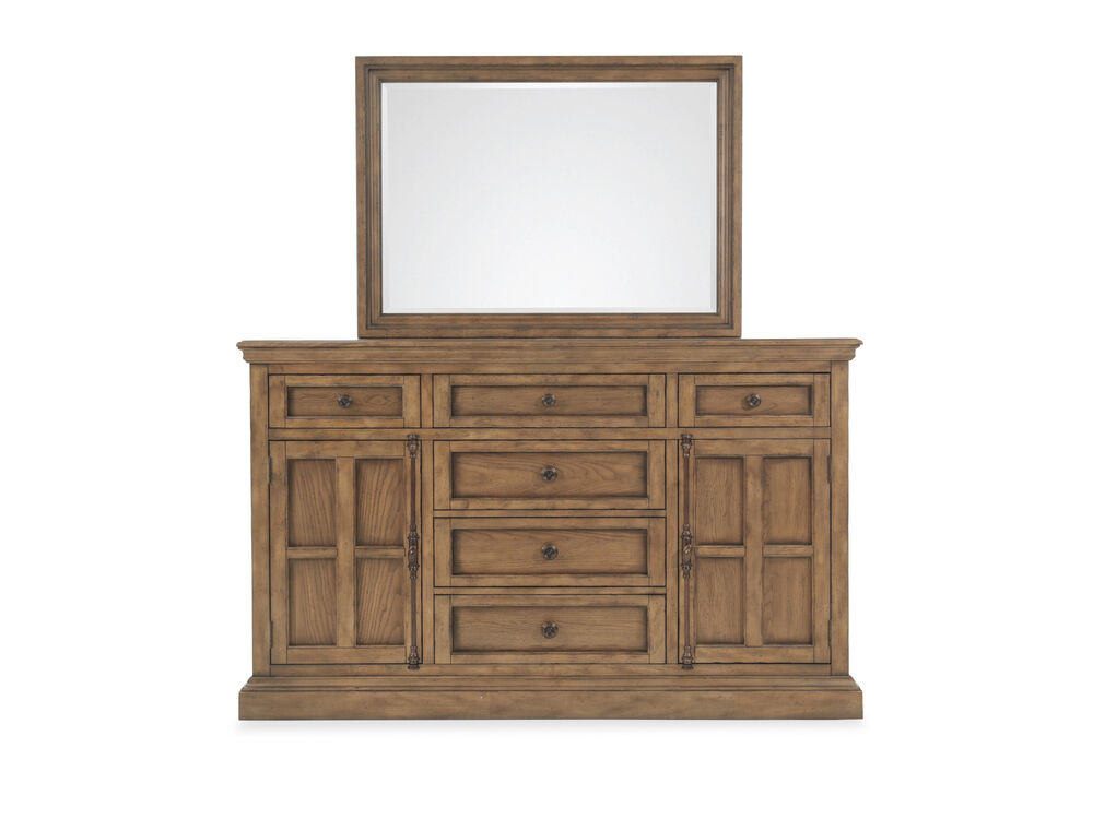 Two-Piece Transitional Dresser and Mirror in Light Brown