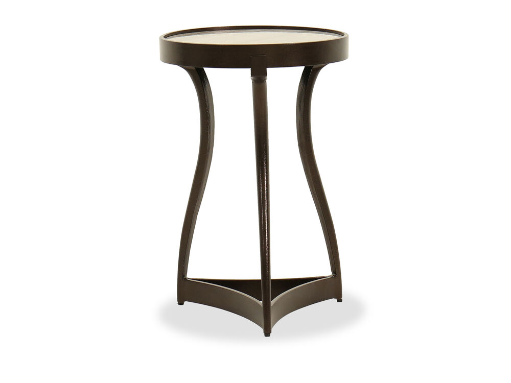 Contemporary Travertine-Inset Martini Table in Tumbled Bronze