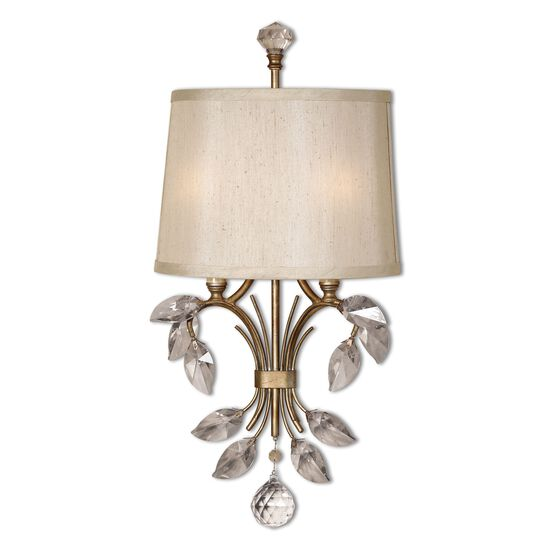 Single-Bulb Crystal Leaf-Accented Wall Sconce in Gold
