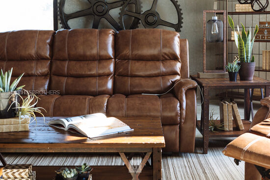 """Power Reclining 82"""" Sofa with Adjustable Headrest in Brown"""