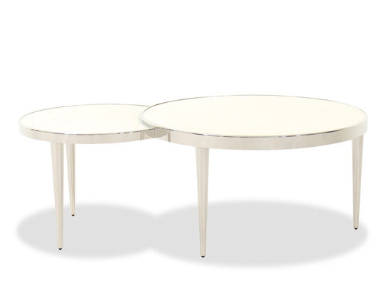 Modern Round Interconnected Cocktail Table in Stainless Steel