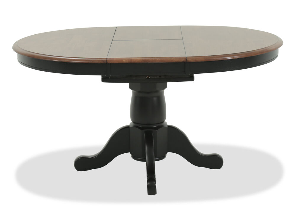 Traditional 42 To 57 Single Pedestal Dining Table With Butterfly Leaf In Almond Mathis Brothers Furniture