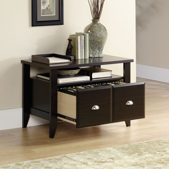 Open-Shelf Transitional Utility Stand in Dark Brown