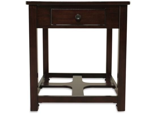 Square One-Drawer Contemporary End Table in Dark Brown