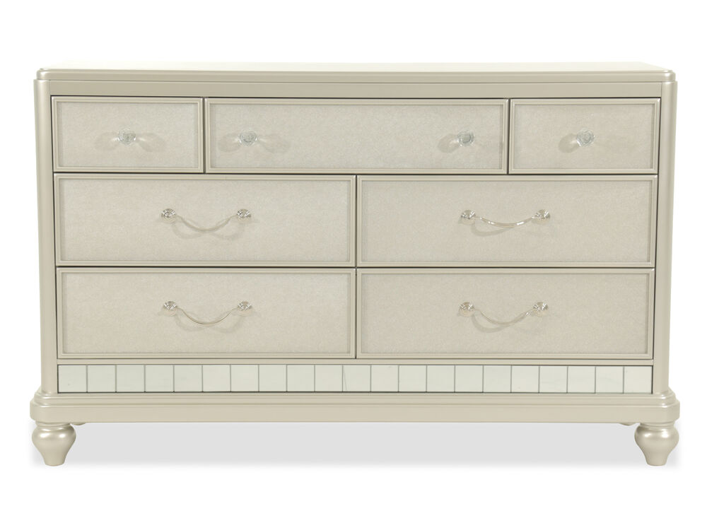 Seven-Drawer Contemporary Youth Dresser in Silver