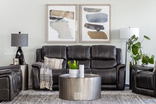 Contemporary Leather Power Reclining Sofa in Gray