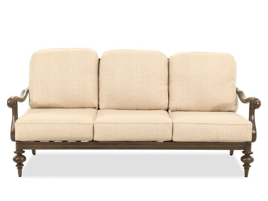 Scrolled Back Aluminum Three-Seat Sofa in Beige