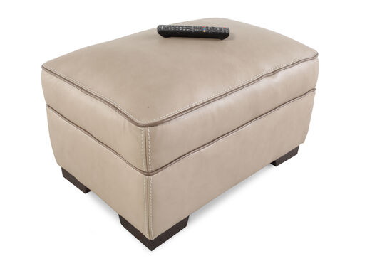 "Contemporary 30"" Leather Ottoman in Brown"