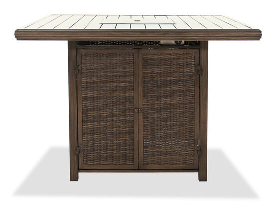 "Contemporary Square 56"" Bar Table With Fire Pit in Brown"