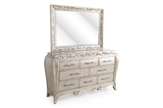 Two-Piece Leaf Carved Dresser and Mirror in Bronze