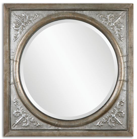 """34"""" Beveled Accent Mirror in Antique Burnished Silver"""