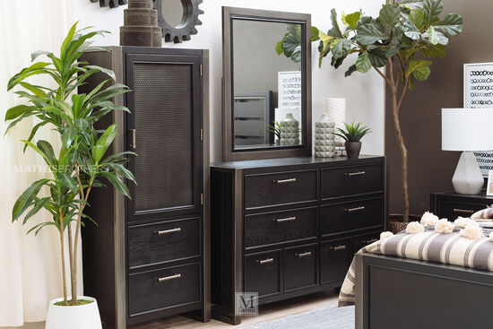 Six-Drawer Contemporary Youth Dresser in Black