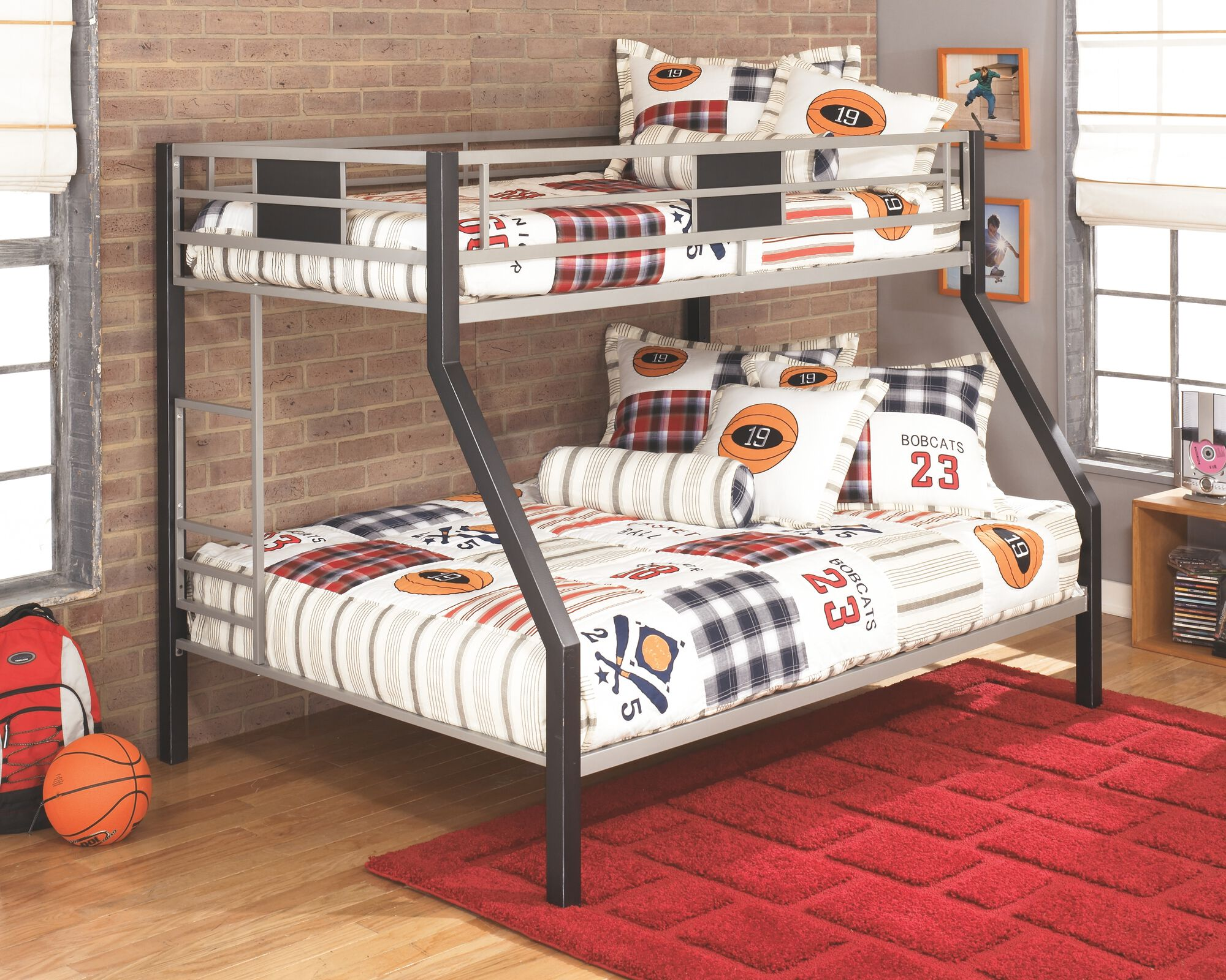 Contemporary Youth Twin Over Full Bunk Bed In Silver Mathis Brothers Furniture