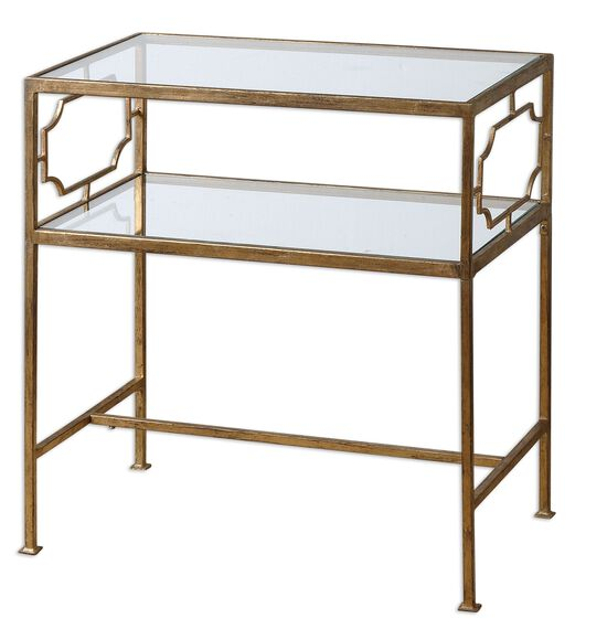Glass Top Side Table in Gold Leaf