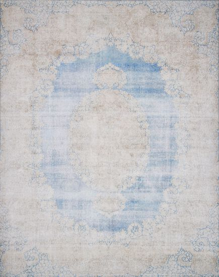 "Traditional 2'-3""x3'-9"" Rug in Lt. Blue/Sand"
