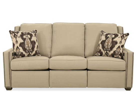 """Nailhead-Accented Transitional 82"""" Power Reclining Sofa in Cream"""