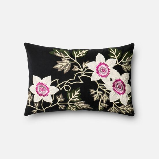 """Contemporary 13""""x21"""" Cover w/Poly Pillow in Black/Ivory"""