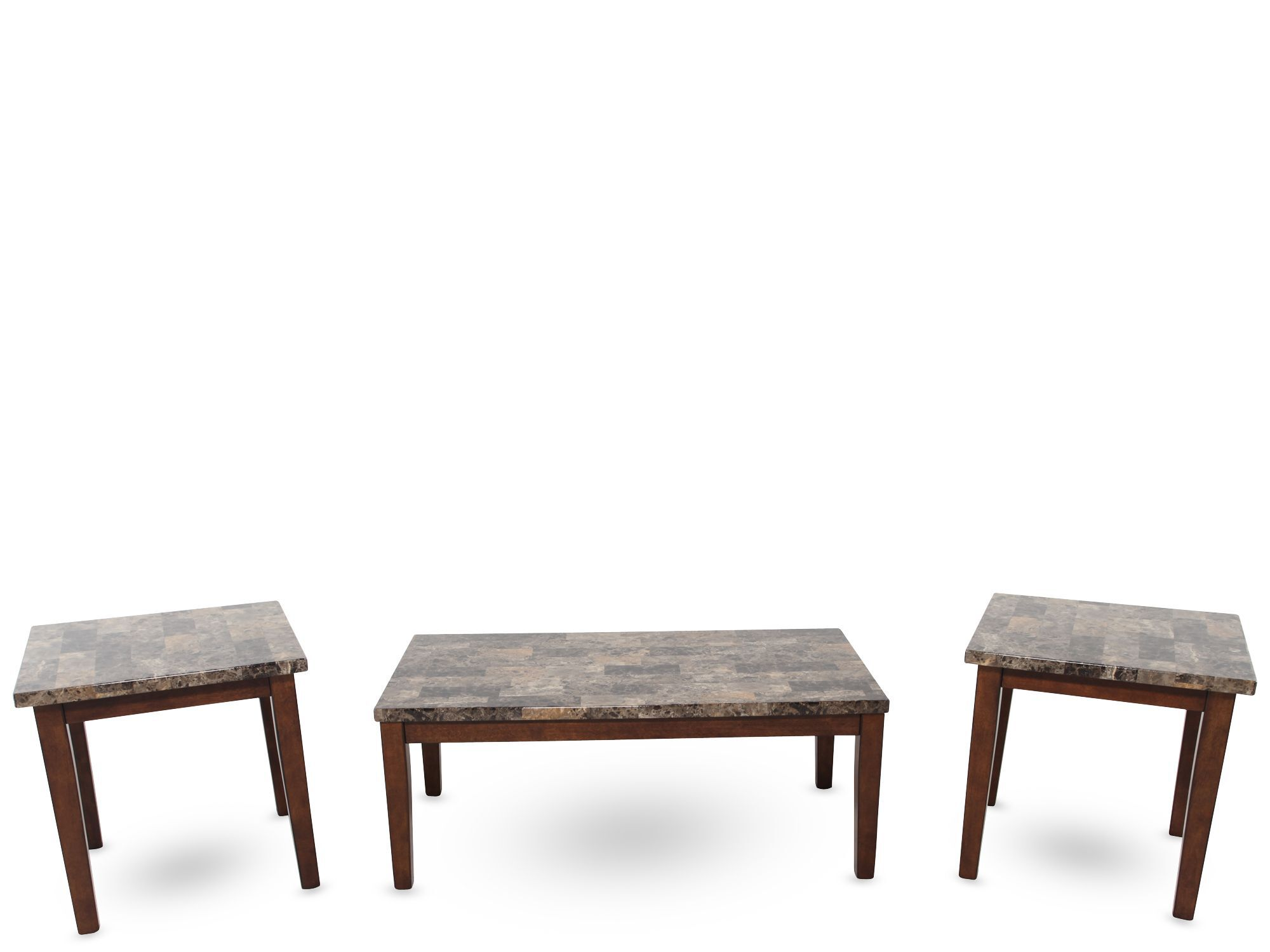 Three Piece Contemporary Coffee Table Set In Light Brown