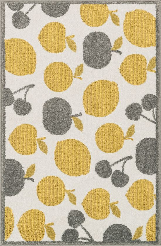 """Contemporary 2'-5""""x3'-9"""" Hearth Rug in Ivory/Yellow"""