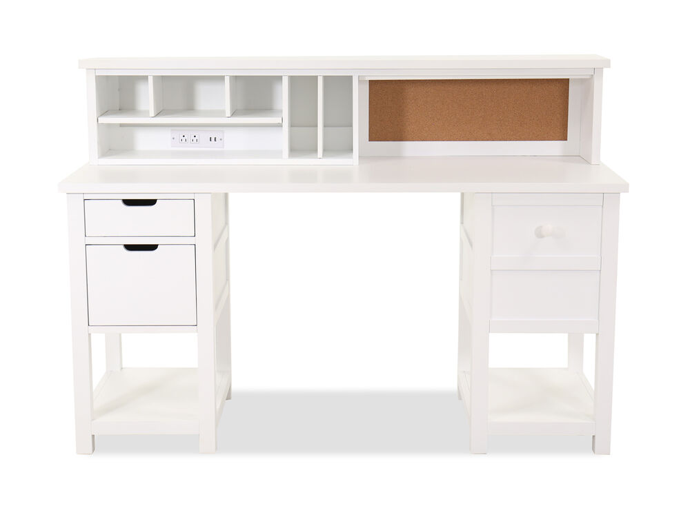Casual Five Drawer Junior Executive Youth Desk Hutch In White Mathis Brothers Furniture