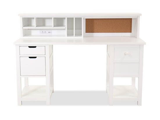 Casual Five-Drawer Junior Executive Youth Desk & Hutch in White