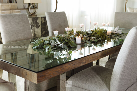 """Modern 40"""" Glass Dining Table in Light Brown"""