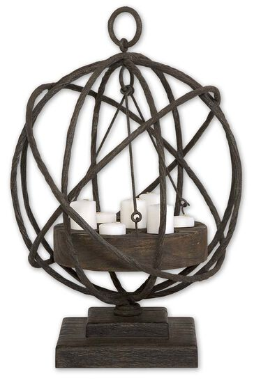 Caged Candle-Holder in Weathered Chestnut