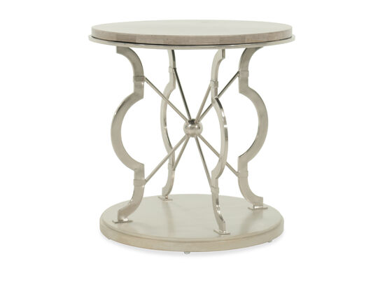 Transitional Stone Top Round Lamp Table in Silver